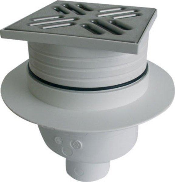 Podlahová vpusť 105x105 přímá, odpad 50mm, nerez SI5PC00
