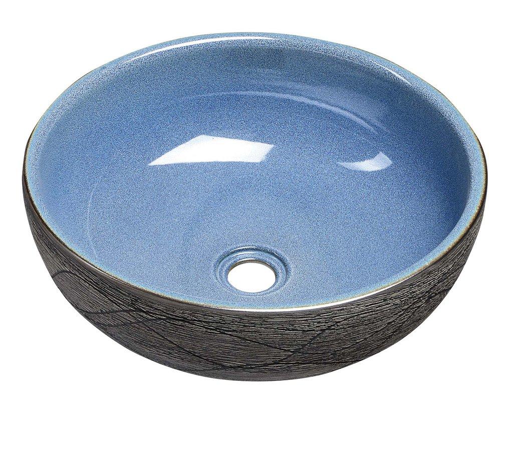 PRIORI keramické umyvadlo, průměr 41cm, 15cm, modrá/šedá PI020