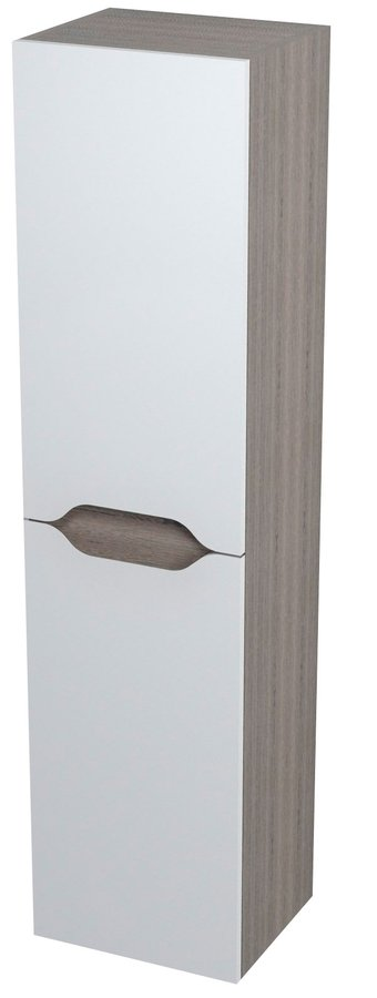 WAVE skříňka vysoká s košem 35x140x30cm, pravá, bílá/maliwenge 51245P