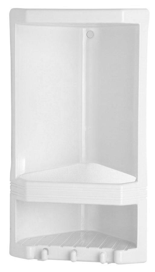 JUNIOR dvoupatrová rohová polička, 189x385x139 mm, termoplast, bílá 8079