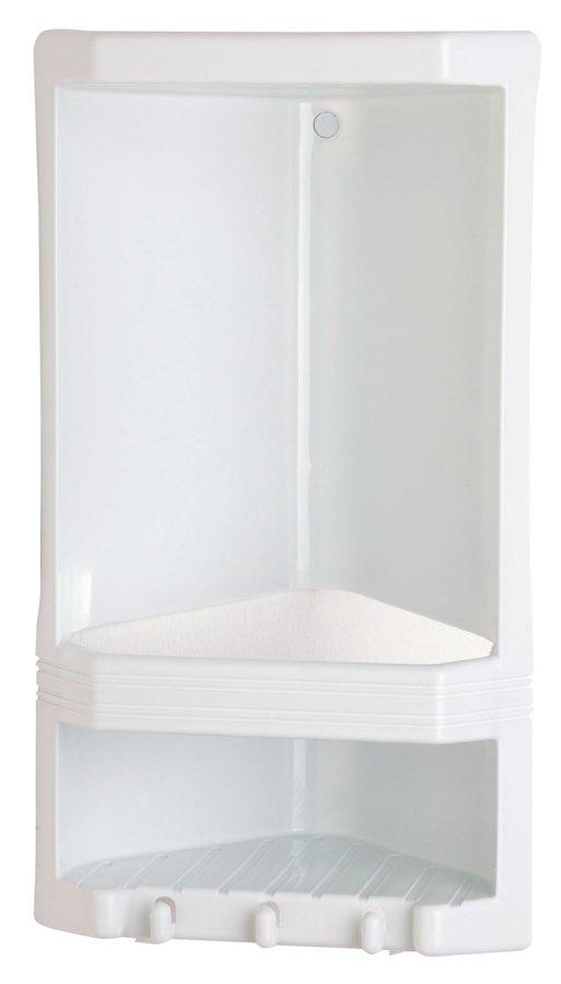 JUNIOR dvoupatrová rohová polička, 18,9x38,5x13,9 cm, termoplast, bílá 8079