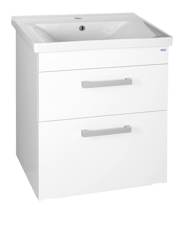 POLY umyvadlová skříňka 61,5x74,6x43 cm, 2xzásuvka, bílá PL065