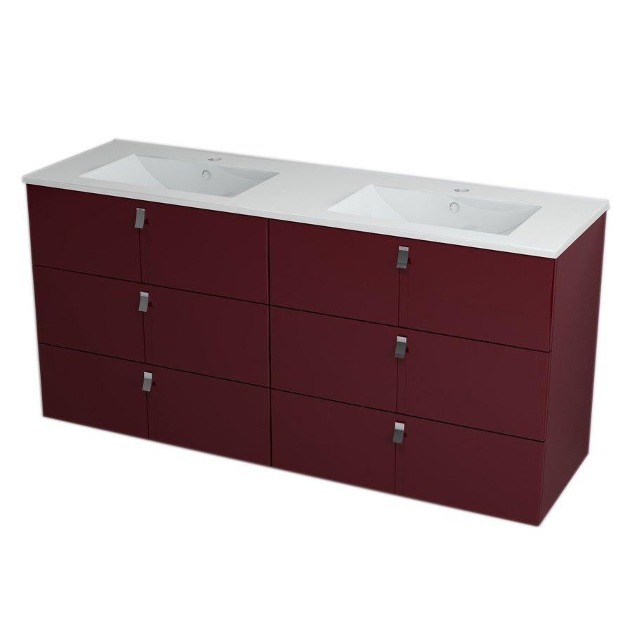 MITRA umyvadlová skříňka s umyvadlem, 3 zásuvky, 150x70x46 cm, bordó 2XMT0831601-150