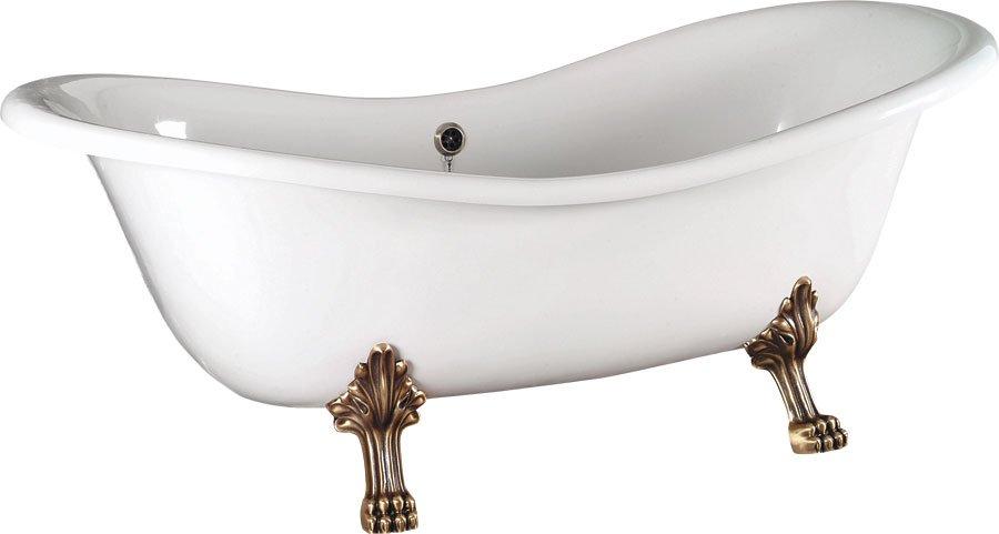 CHARLESTON volně stojící vana 188x80x71cm, nohy bronz, bílá 38132