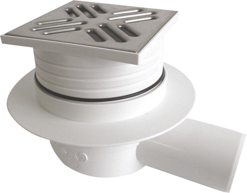 Podlahová vpusť 105x105 boční, odpad 50mm, nerez SI50C00