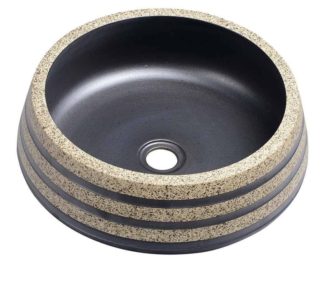 PRIORI keramické umyvadlo, průměr 41cm, 15cm, černá/kámen PI021