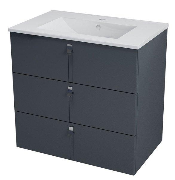 MITRA umyvadlová skříňka, 3 zásuvky, 89,5x70x45,2 cm, antracit MT112
