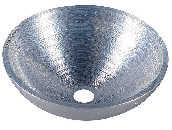 MURANO SILVER skleněné umyvadlo kulaté 40x14 cm, stříbrná AL5318-68