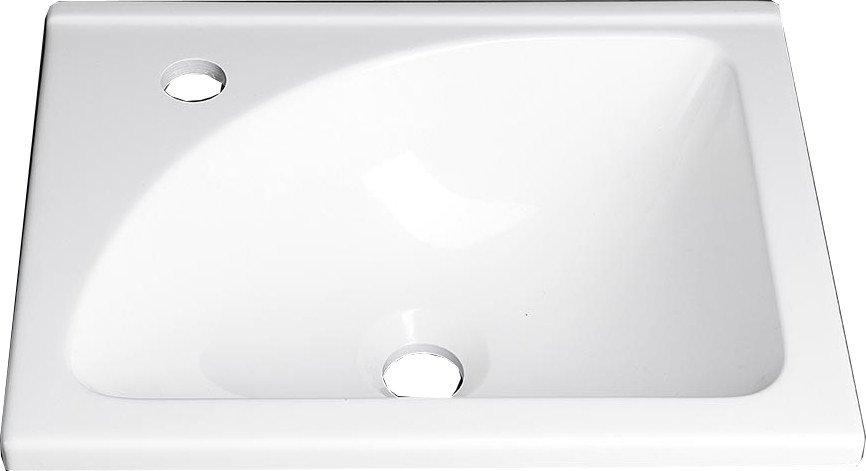Umyvadlo 40x32cm, litý mramor, bílá LM408