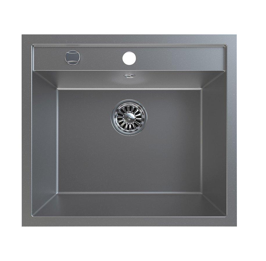 Dřez granitový vestavný mono, 57x51 cm, šedá GR1003