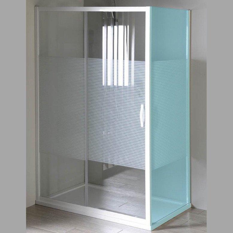 ETERNO sprchové dveře posuvné 1100mm, sklo STRIP GE6911