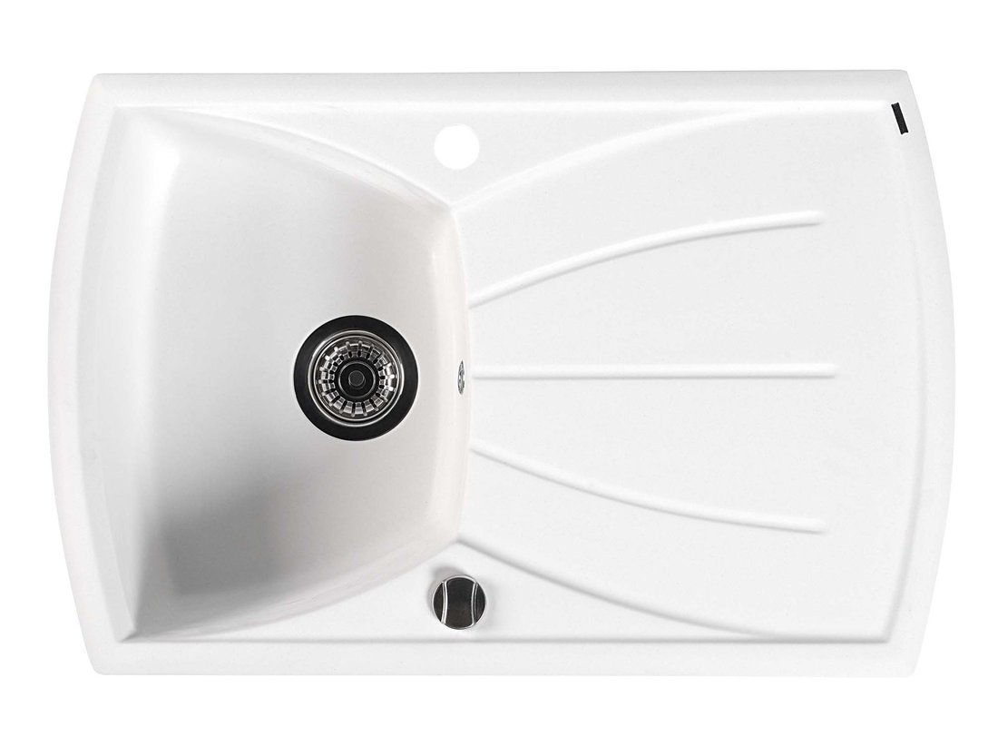 Dřez granitový vestavný s odkapávací plochou, 77x51 cm, bílá GR1101
