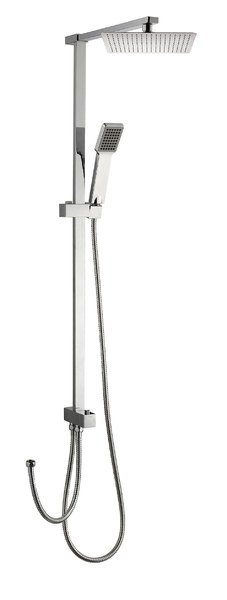 Sprchový sloup k napojení na baterii, pevná SLIM a ruční sprcha, hranatý, chrom 1202-12