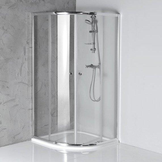ARLETA čtvrtkruhová sprchová zástěna 800x800mm, čiré sklo HLS800