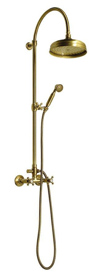 ANTEA sprchový sloup k napojení na baterii, hlavová a ruční sprcha, bronz SET036