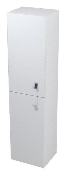 MITRA skříňka vysoká s prádelním košem 35x140x30cm, bílá, levá MT161