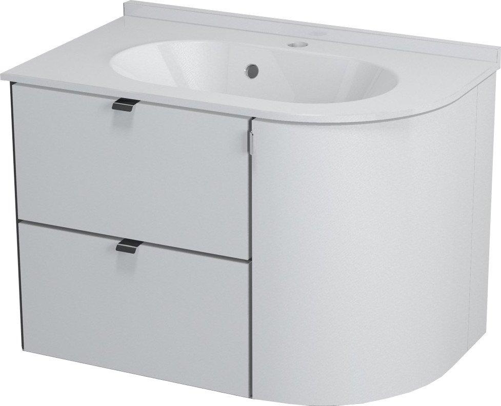 PULSE umyvadlová skříňka 75x52x45 cm, levá, bílá/antracit PU075L