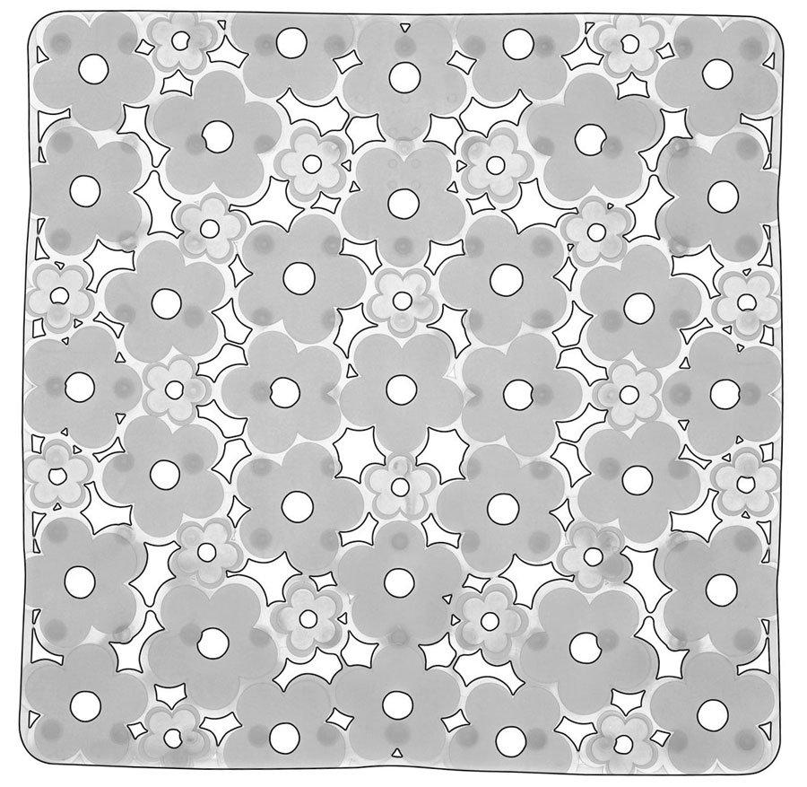 MARGHERITA podložka do sprchového koutu 51,5x51,5cm s protiskluzem, PVC, čirá 975151P2