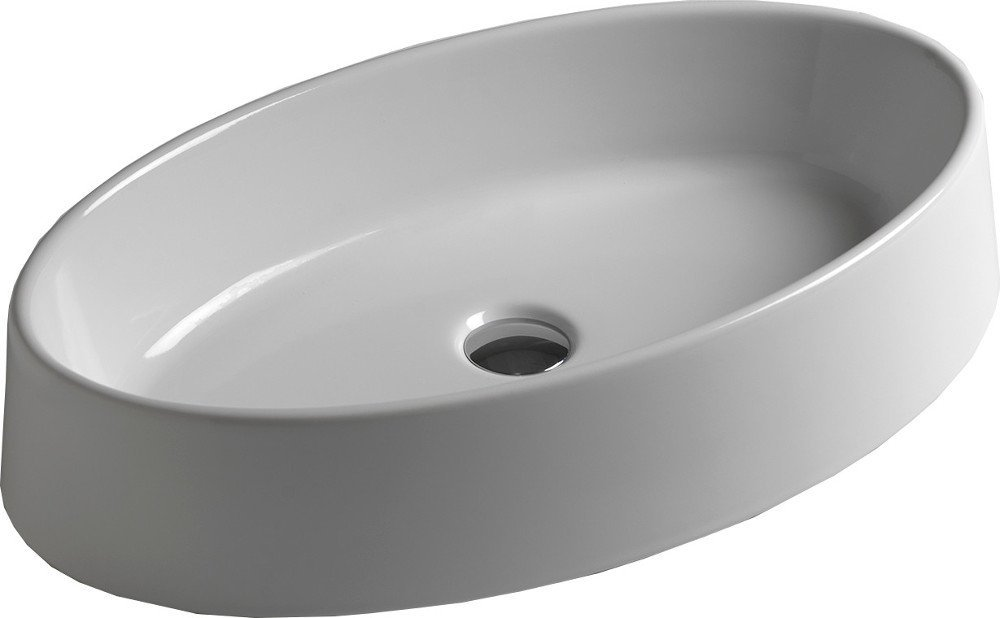 OVAL keramické umyvadlo 64,5x13x35,5 cm, na desku, bez přepadu W900701