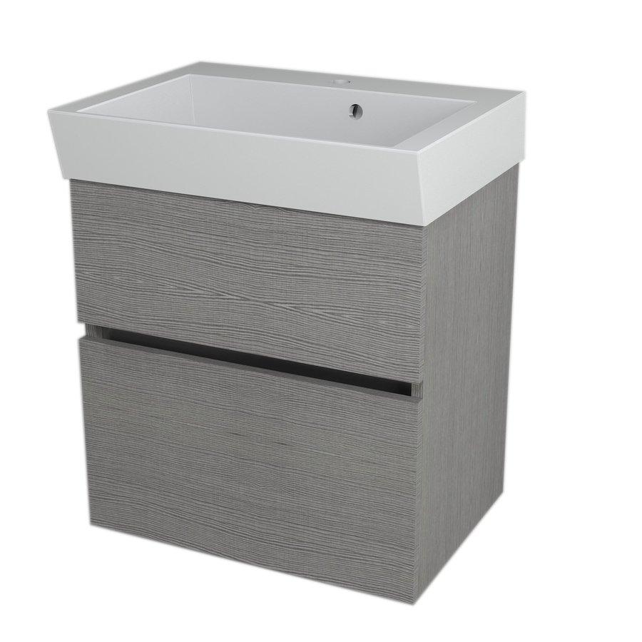 LARGO umyvadlová skříňka 59x60x41cm, dub stříbrný LA600