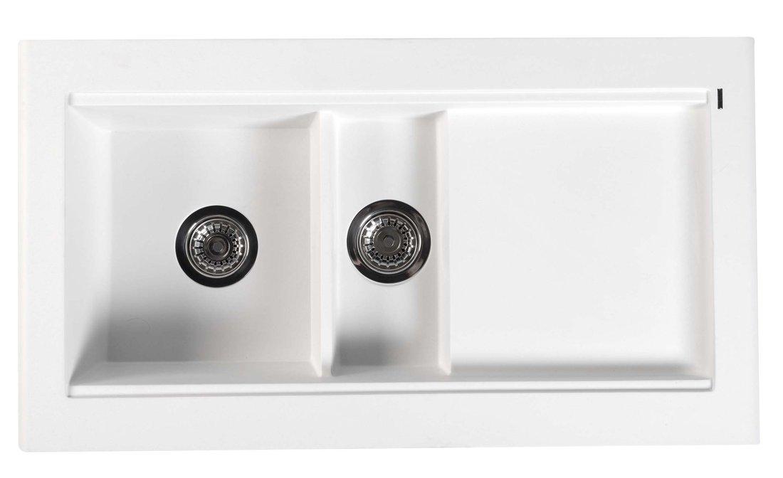 Dřez granitový vestavný s odkapávací plochou a vaničkou, 95,8x53,4 cm, bílá GR1301