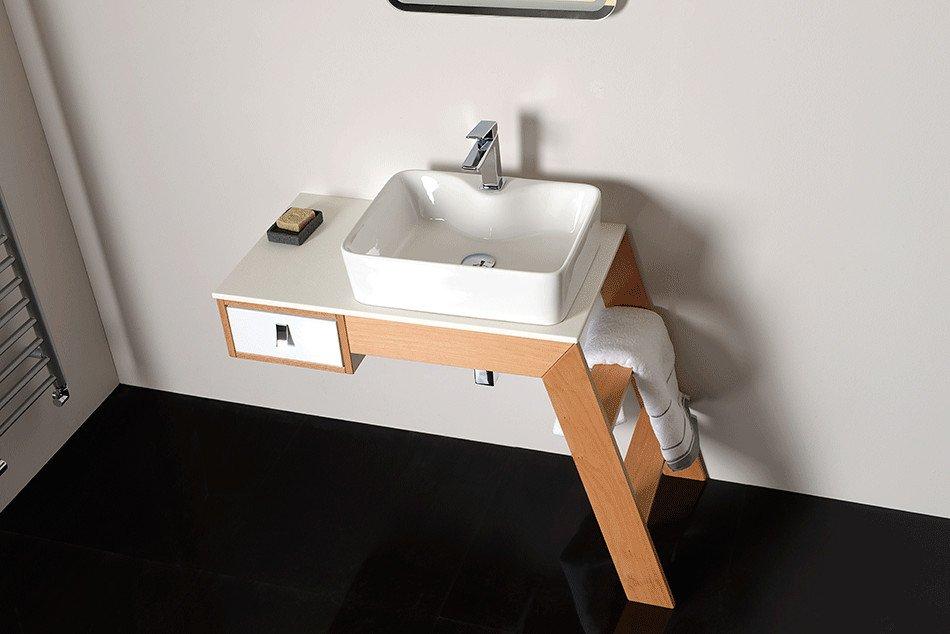 CASTOR umyvadlová skříňka 95x71,6x45cm, pravá, sandwich buk/bílá CT03