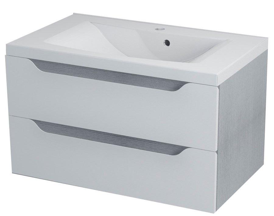 WAVE umyvadlová skříňka 79,7x45x47,8cm, bílá/dub stříbrný WA082