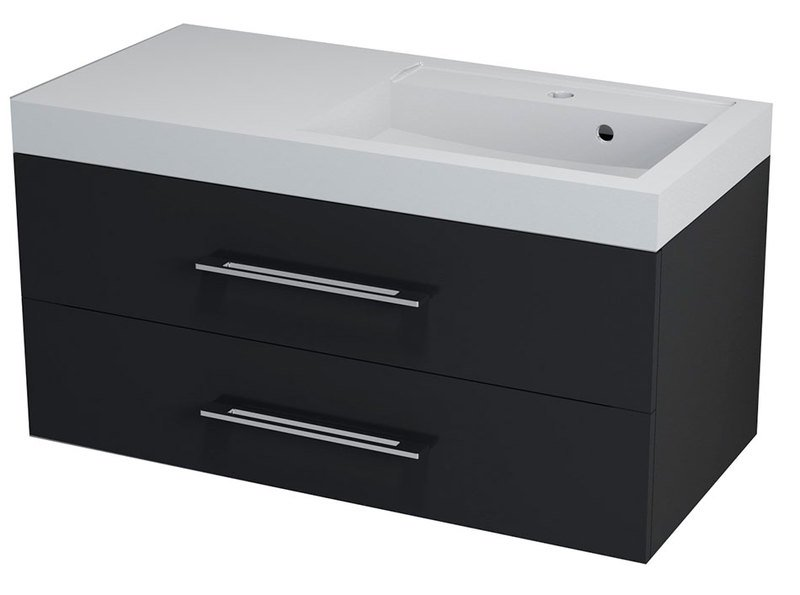 MARIOKA II umyvadlová skříňka 100x45x48cm, levá, černá MK024
