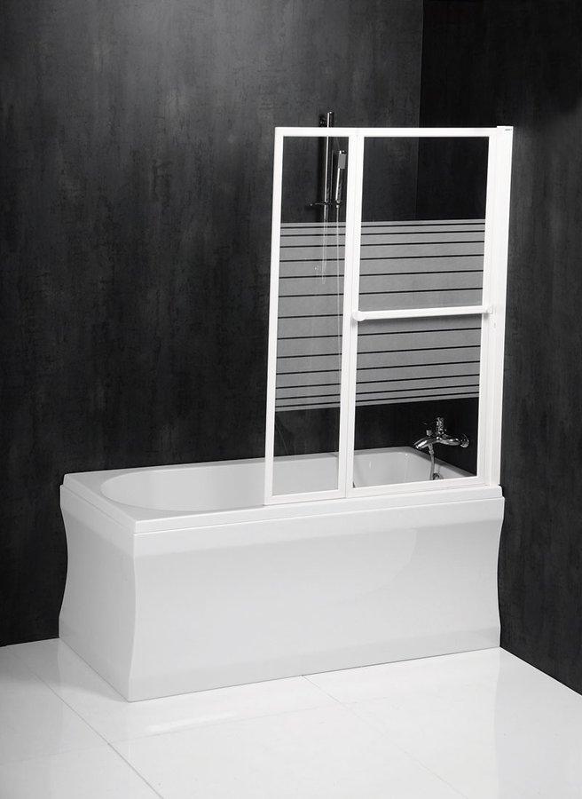 VENUS 2 pneumatická vanová zástěna 1060 mm, bílý rám, potištěné sklo 36127