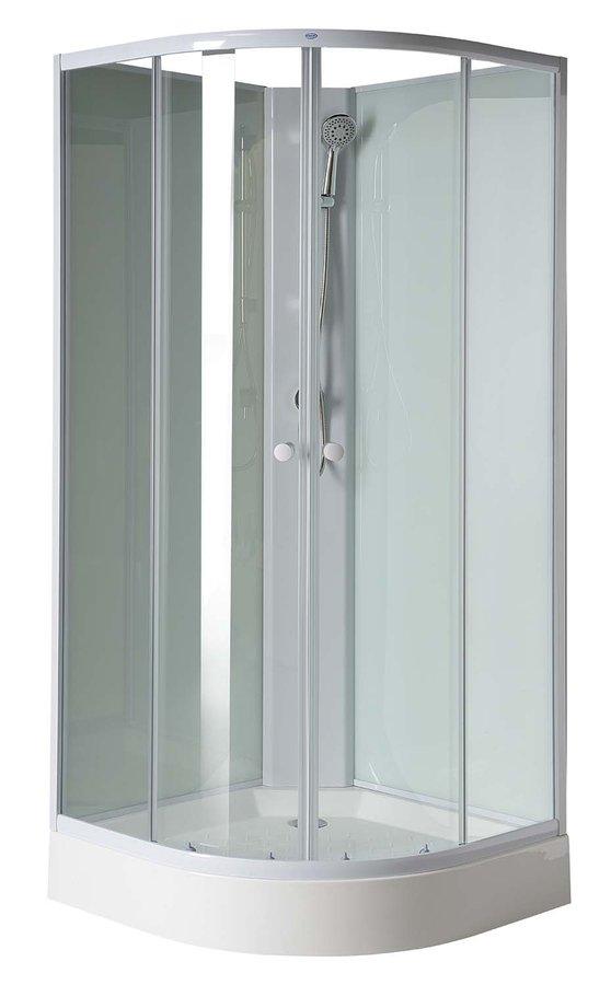 AIGO čtvrtkruhový sprchový box 900x900x2050 mm, bílý profil, čiré sklo YB93