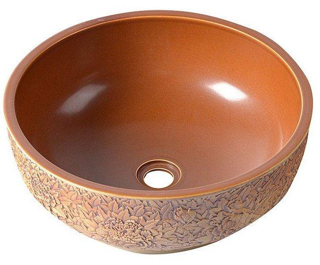 PRIORI keramické umyvadlo, průměr 43cm, červenohnědá PI015