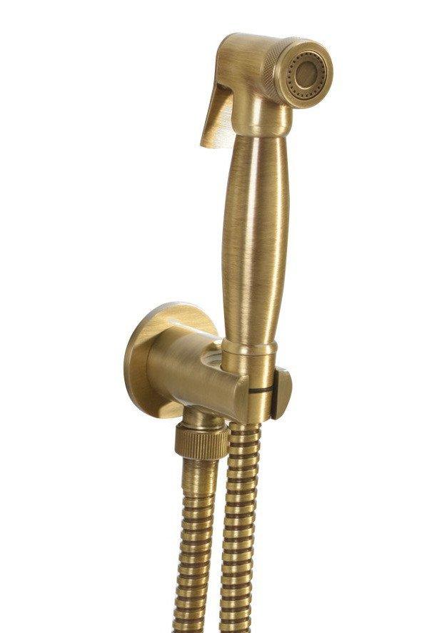 Bidetová sprcha retro s hadicí a držákem sprchy s vyústěním, bronz 9106