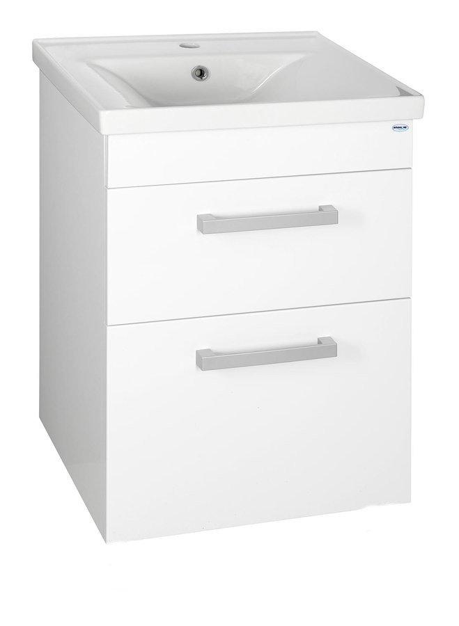 POLY umyvadlová skříňka 51,8x74,6x44 cm, 2xzásuvka, bílá PL055