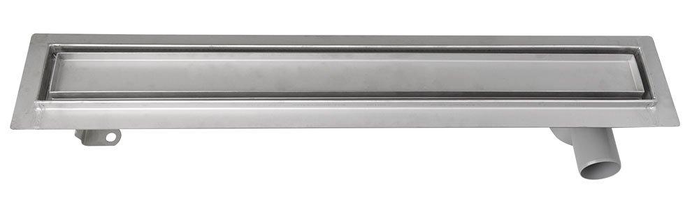 Nerezový odtokový žlab s roštem pro dlažbu, vč. sifonu, 860x140 mm 2710-90