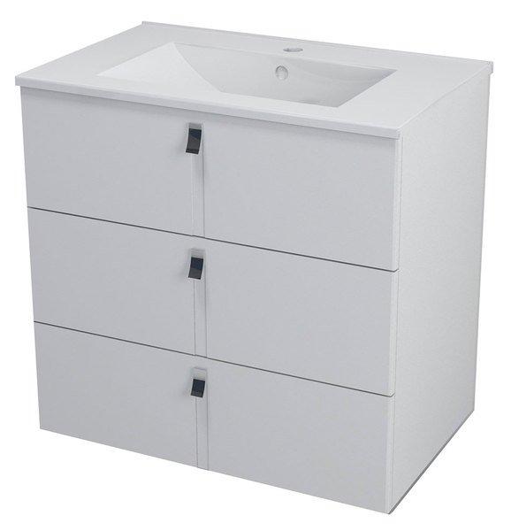 MITRA umyvadlová skříňka, 3 zásuvky, 74,5x70x45,2 cm, bílá MT081