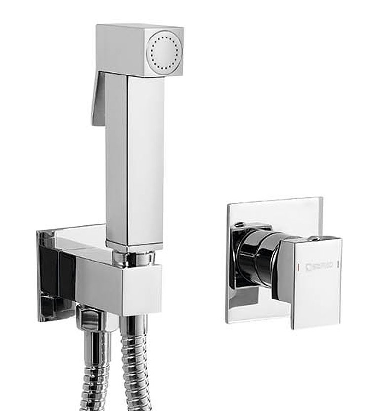 Latus podomítková baterie s bidetovou sprchou Latus, hranatá, chrom Bidetset10-Latus