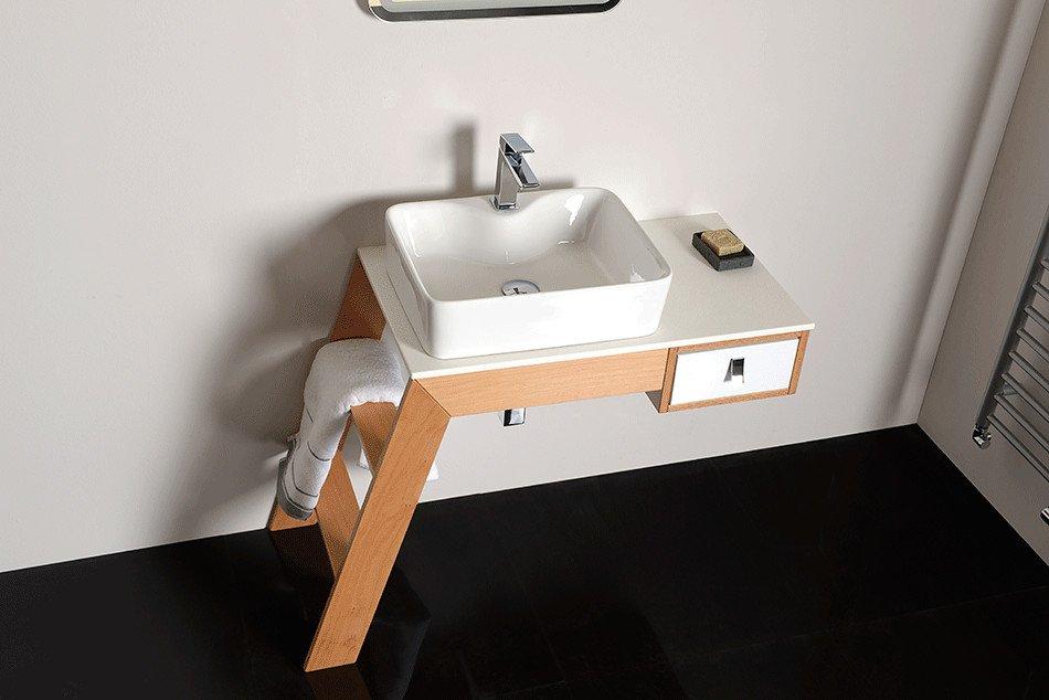 CASTOR umyvadlová skříňka 95x71,6x45cm, levá, sandwich buk/bílá CT02