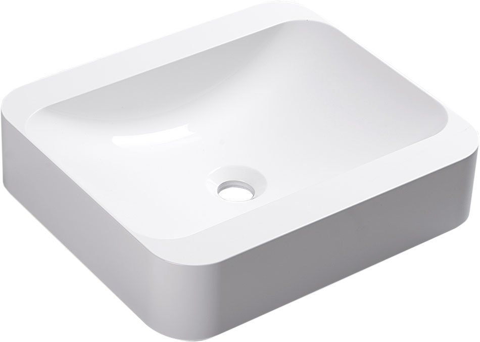 PIREUS umyvadlo 45x40cm, litý mramor, bílá PR045