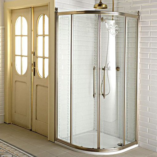 ANTIQUE čtvrtkruhová zástěna 900x900mm,posuvné dveře dvoukřídlé, čiré sklo,bronz GQ5290