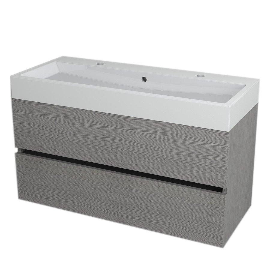 LARGO umyvadlová skříňka 99x50x41cm, dub stříbrný LA100