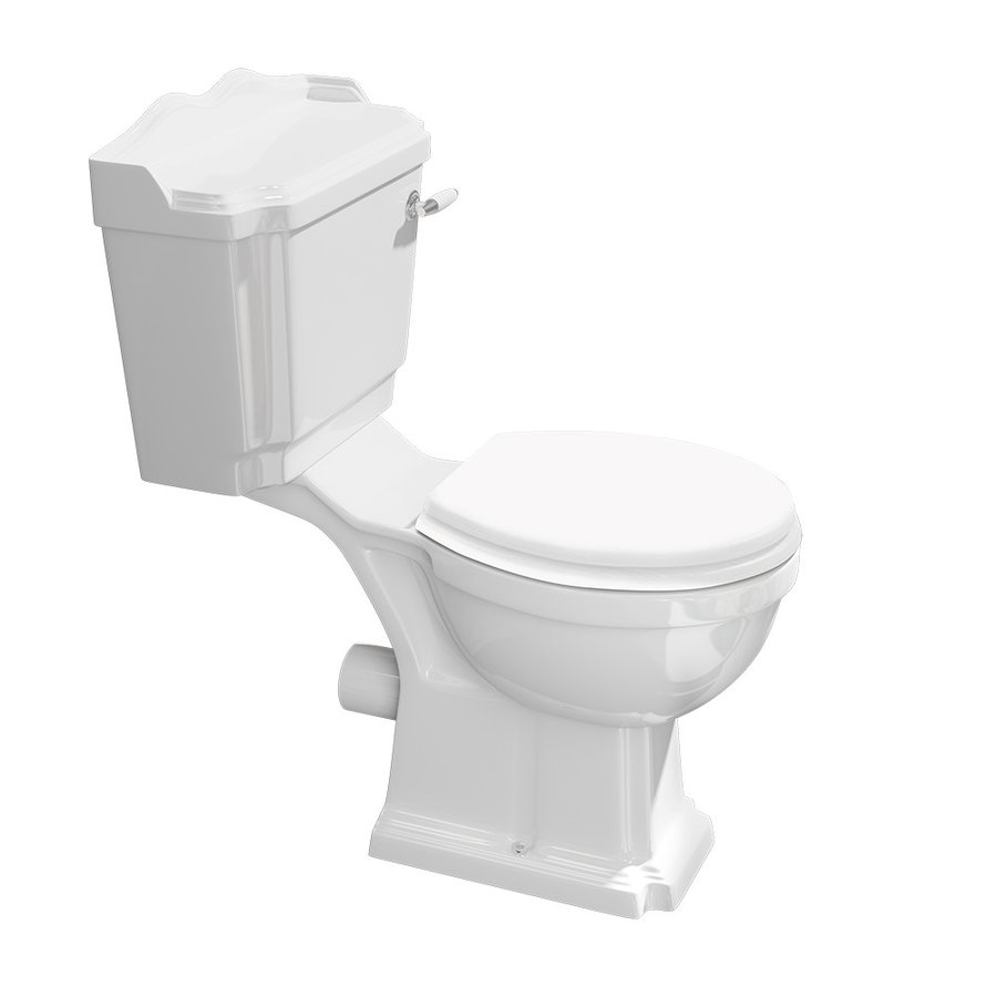 ANTIK WC kombi, mísa+nádržka+splachovací mech. s páčkou+PP sedátko, bílá/chrom AK107