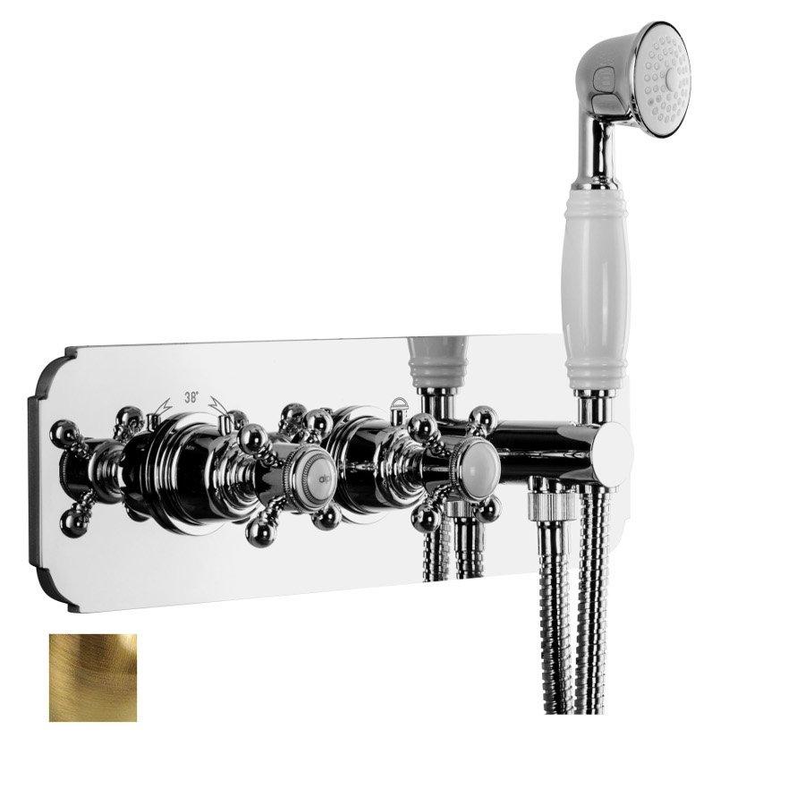 LONDON podom.sprch.termostat.baterie s ruční sprchou a držákem, 2 výstupy, bronz LO41L163DBR